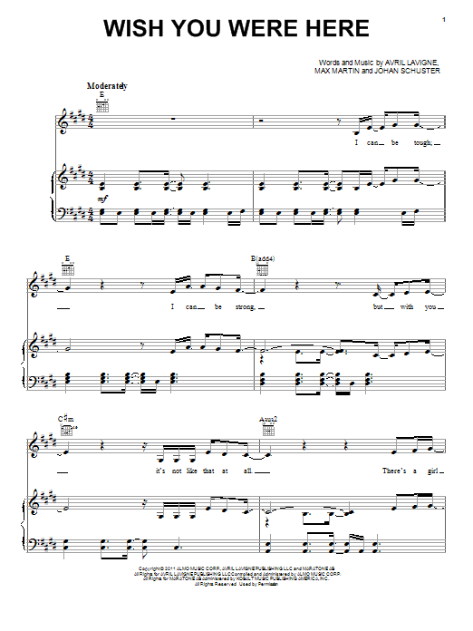 Avril Lavigne Wish You Were Here sheet music notes and chords