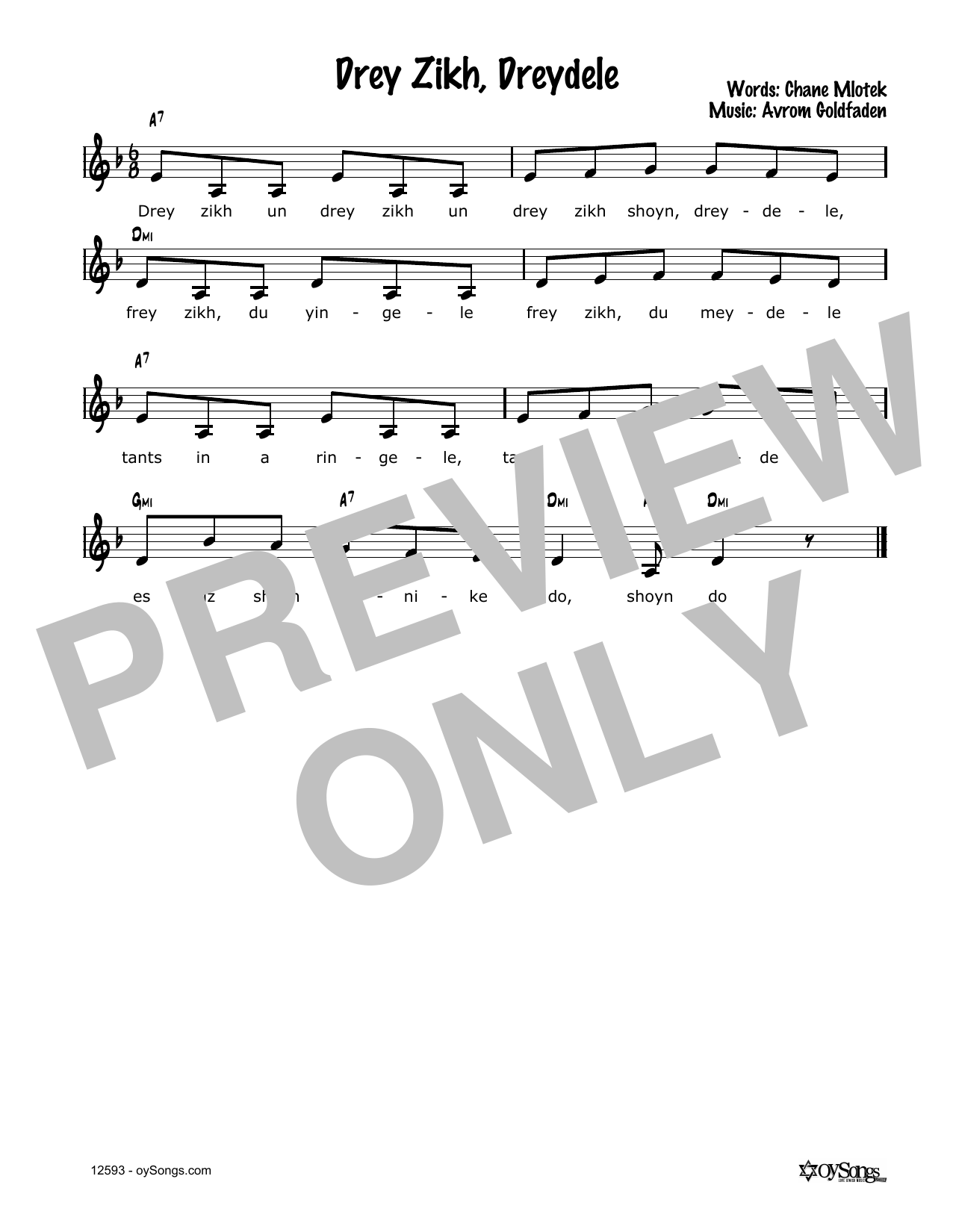 Avrom Goldfaden Drei Zich, Dreidele sheet music notes and chords. Download Printable PDF.