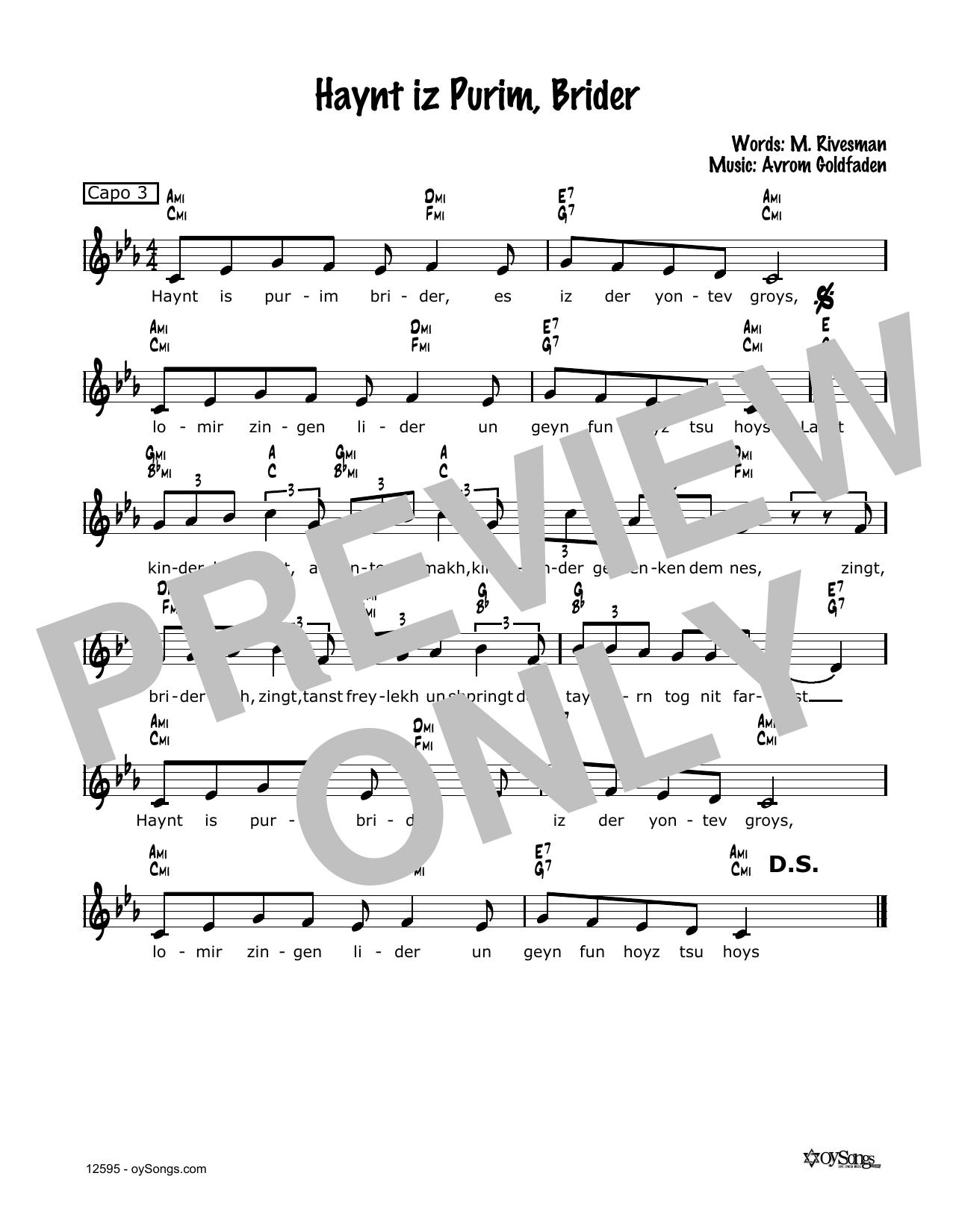 Avrom Goldfaden Haynt Iz Purim, Brider sheet music notes and chords. Download Printable PDF.