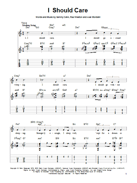 Axel Stordahl I Should Care sheet music notes and chords. Download Printable PDF.