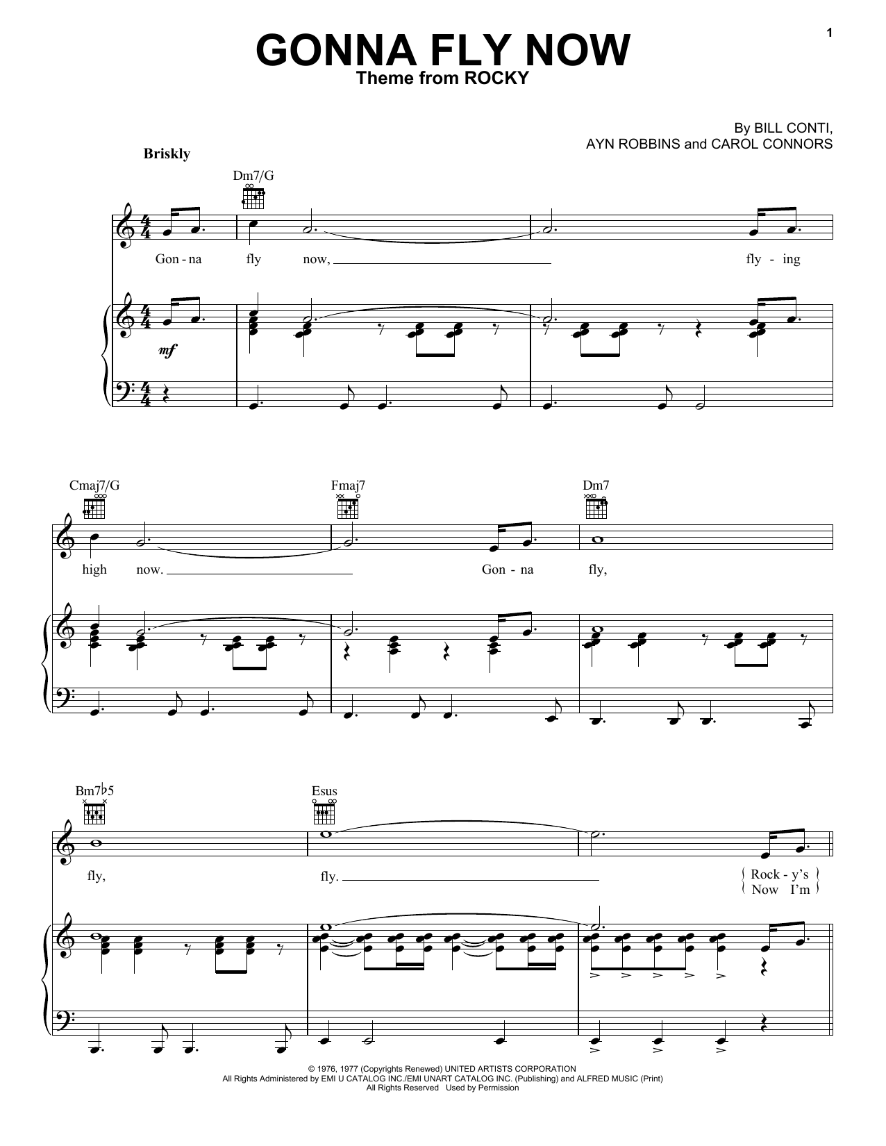 Ayn Robbins Gonna Fly Now sheet music notes and chords. Download Printable PDF.
