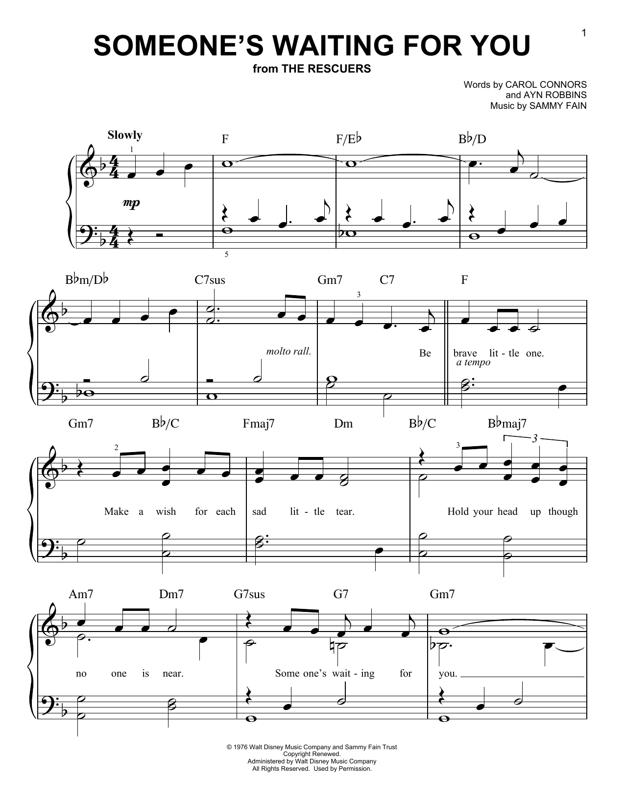 Ayn Robbins Someone's Waiting For You sheet music notes and chords. Download Printable PDF.