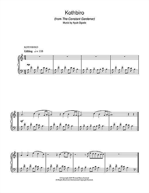 Ayub Ogada Kothbiro (from The Constant Gardener) sheet music notes and chords. Download Printable PDF.