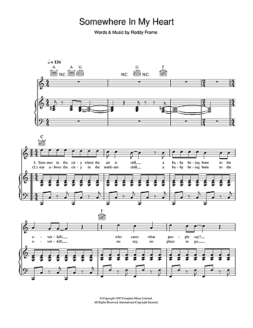 Aztec Camera Somewhere In My Heart sheet music notes and chords. Download Printable PDF.