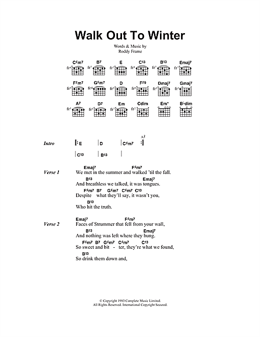 Aztec Camera Walk Out To Winter sheet music notes and chords. Download Printable PDF.