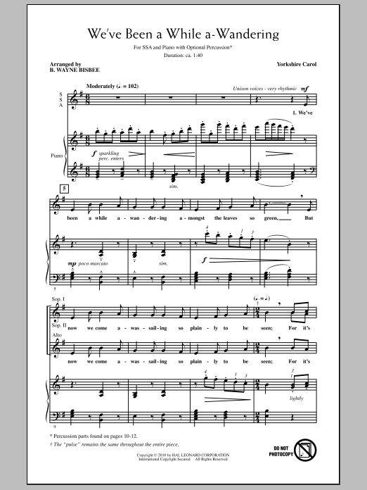 B. Wayne Bisbee We've Been A While A-Wandering sheet music notes and chords. Download Printable PDF.