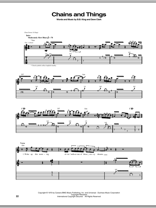 B.B. King Chains And Things sheet music notes and chords. Download Printable PDF.
