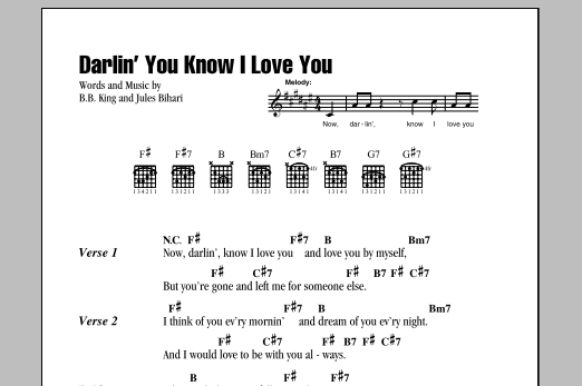 B.B. King Darlin' You Know I Love You sheet music notes and chords. Download Printable PDF.