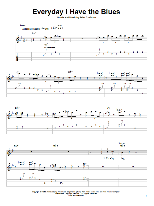 B.B. King Every Day I Have The Blues sheet music notes and chords. Download Printable PDF.