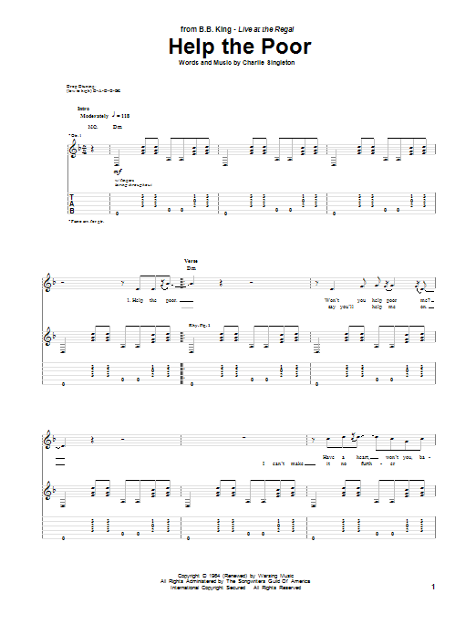 B.B. King Help The Poor sheet music notes and chords. Download Printable PDF.