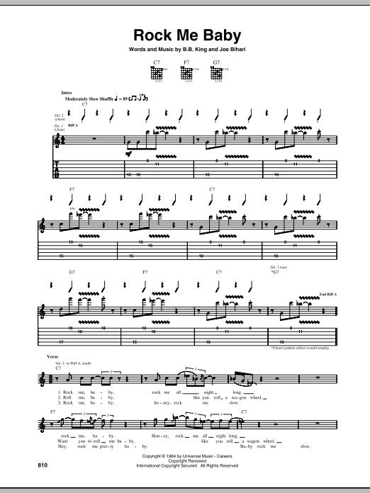 B.B. King Rock Me Baby sheet music notes and chords. Download Printable PDF.