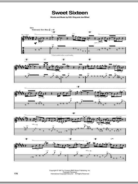 B.B. King Sweet Sixteen sheet music notes and chords