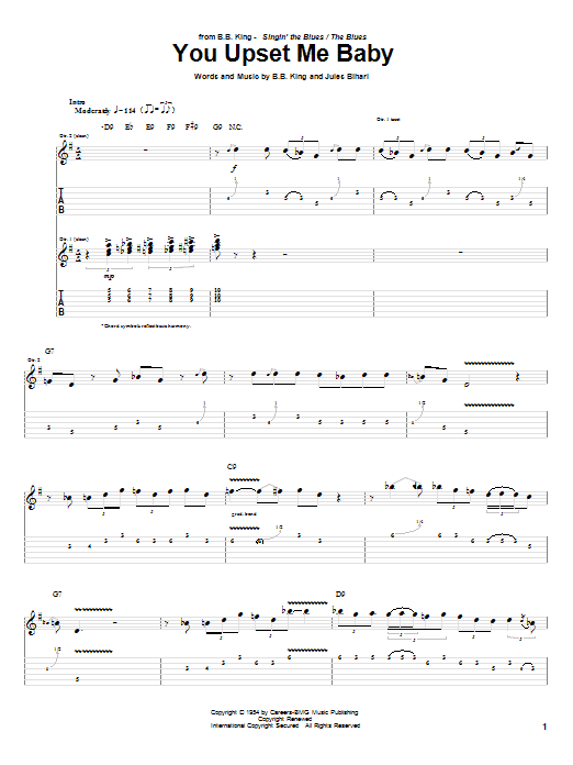 B.B. King You Upset Me Baby sheet music notes and chords. Download Printable PDF.
