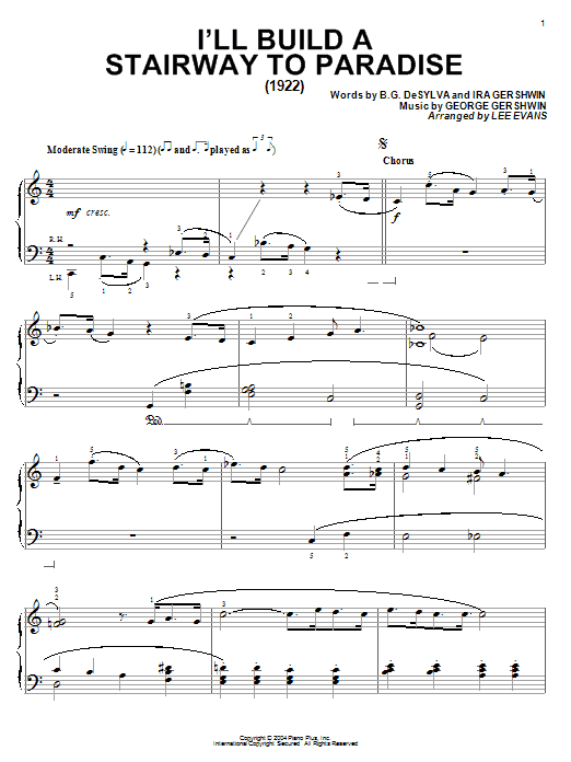 B.G. DeSylva I'll Build A Stairway To Paradise sheet music notes and chords. Download Printable PDF.