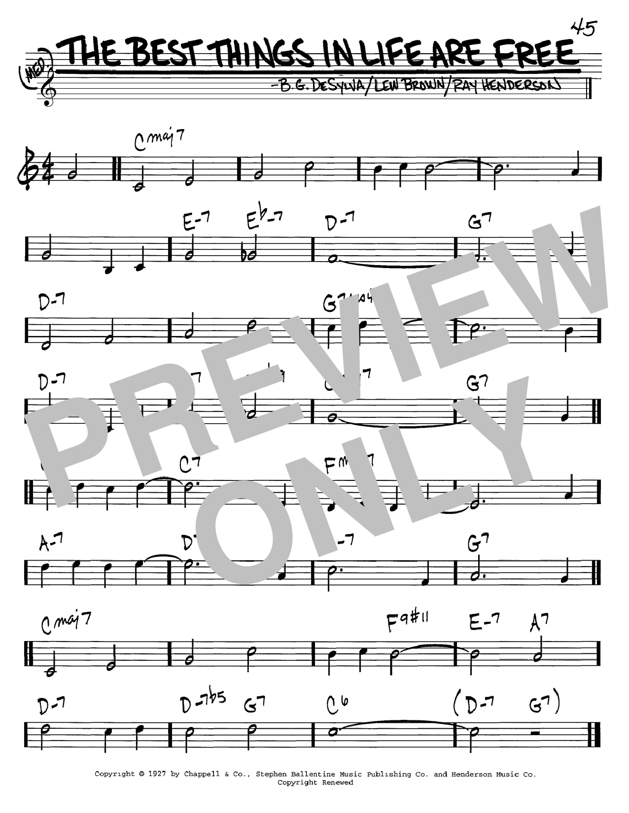 Dinah Shore The Best Things In Life Are Free sheet music notes and chords. Download Printable PDF.