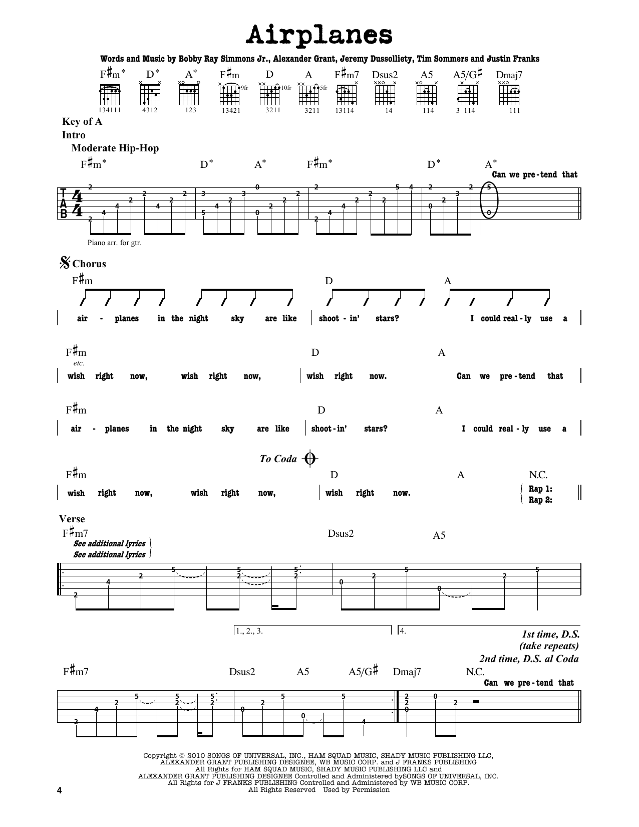 B.o.B. Airplanes (feat. Hayley Williams) sheet music notes and chords. Download Printable PDF.