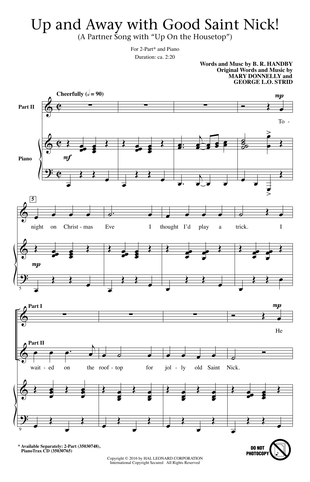 B.R. Hanby Up And Away With Good Saint Nick (A Partner Song With
