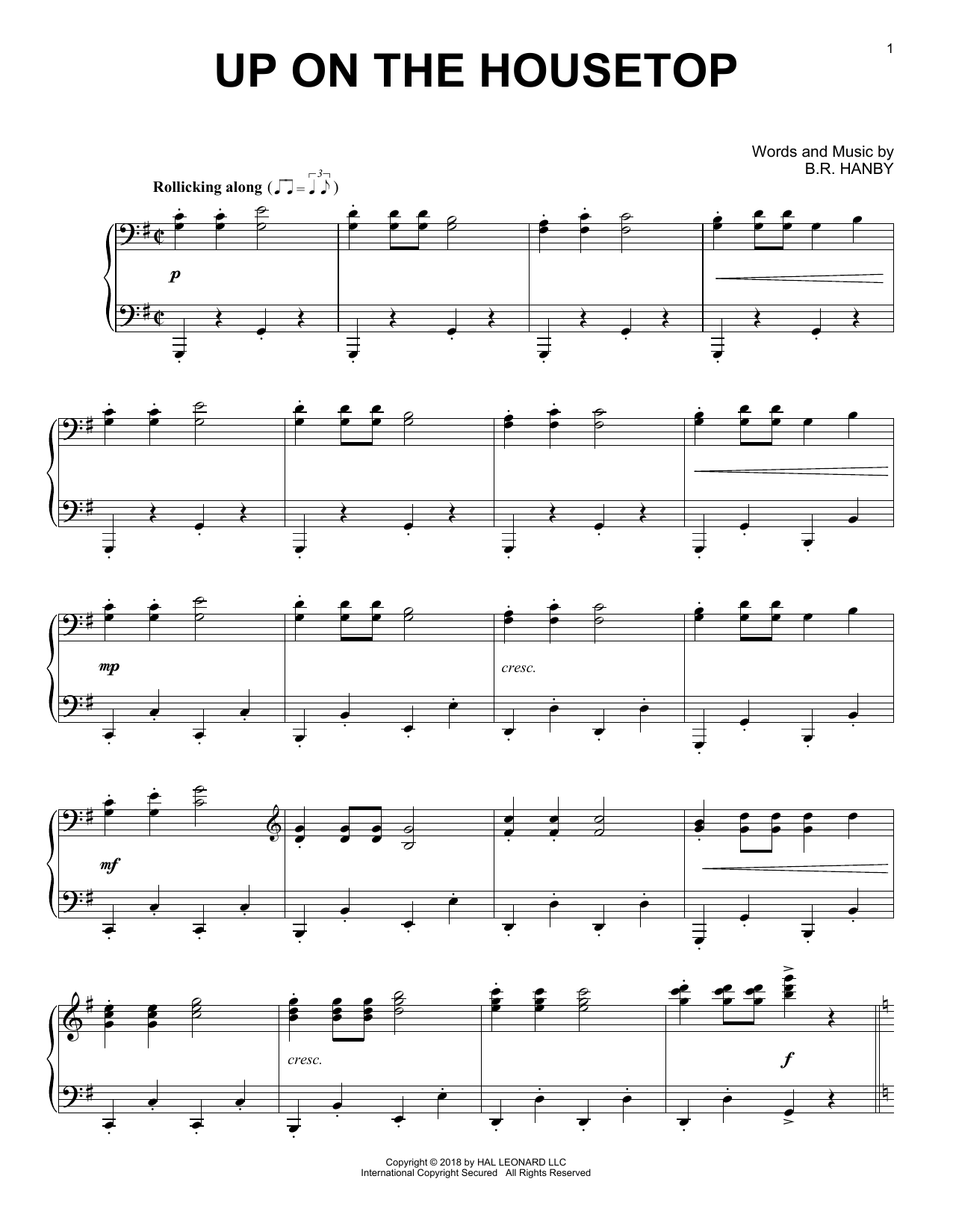 B.R. Hanby Up On The Housetop [Jazz version] sheet music notes and chords