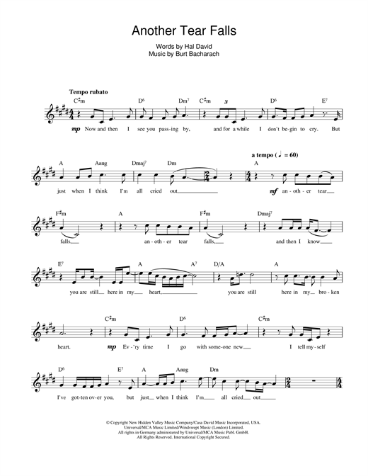 Bacharach & David Another Tear Falls sheet music notes and chords. Download Printable PDF.