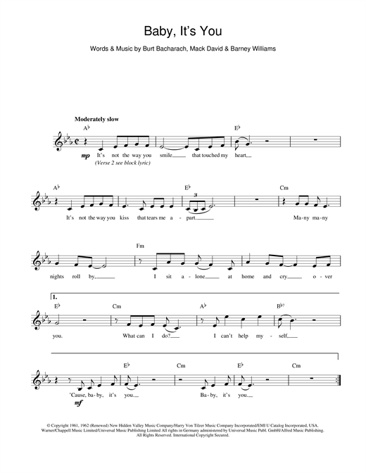 Bacharach & David Baby It's You sheet music notes and chords. Download Printable PDF.