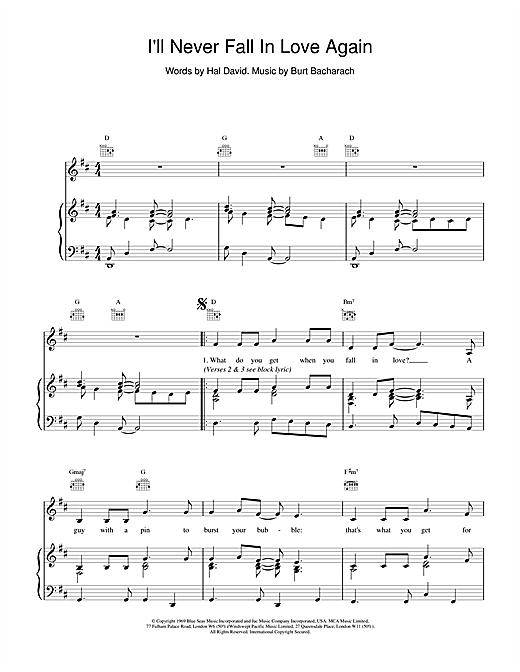 Bacharach & David I'll Never Fall In Love Again sheet music notes and chords