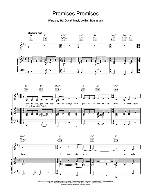 Bacharach & David Promises, Promises sheet music notes and chords. Download Printable PDF.
