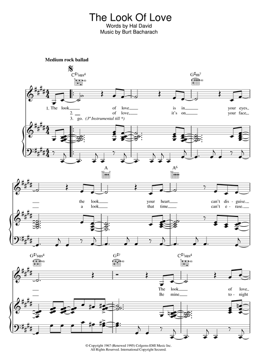 Bacharach & David The Look Of Love sheet music notes and chords