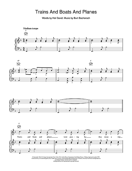 Bacharach & David Trains And Boats And Planes sheet music notes and chords. Download Printable PDF.
