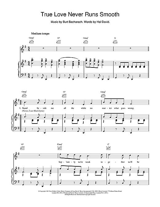 Bacharach & David True Love Never Runs Smooth sheet music notes and chords. Download Printable PDF.