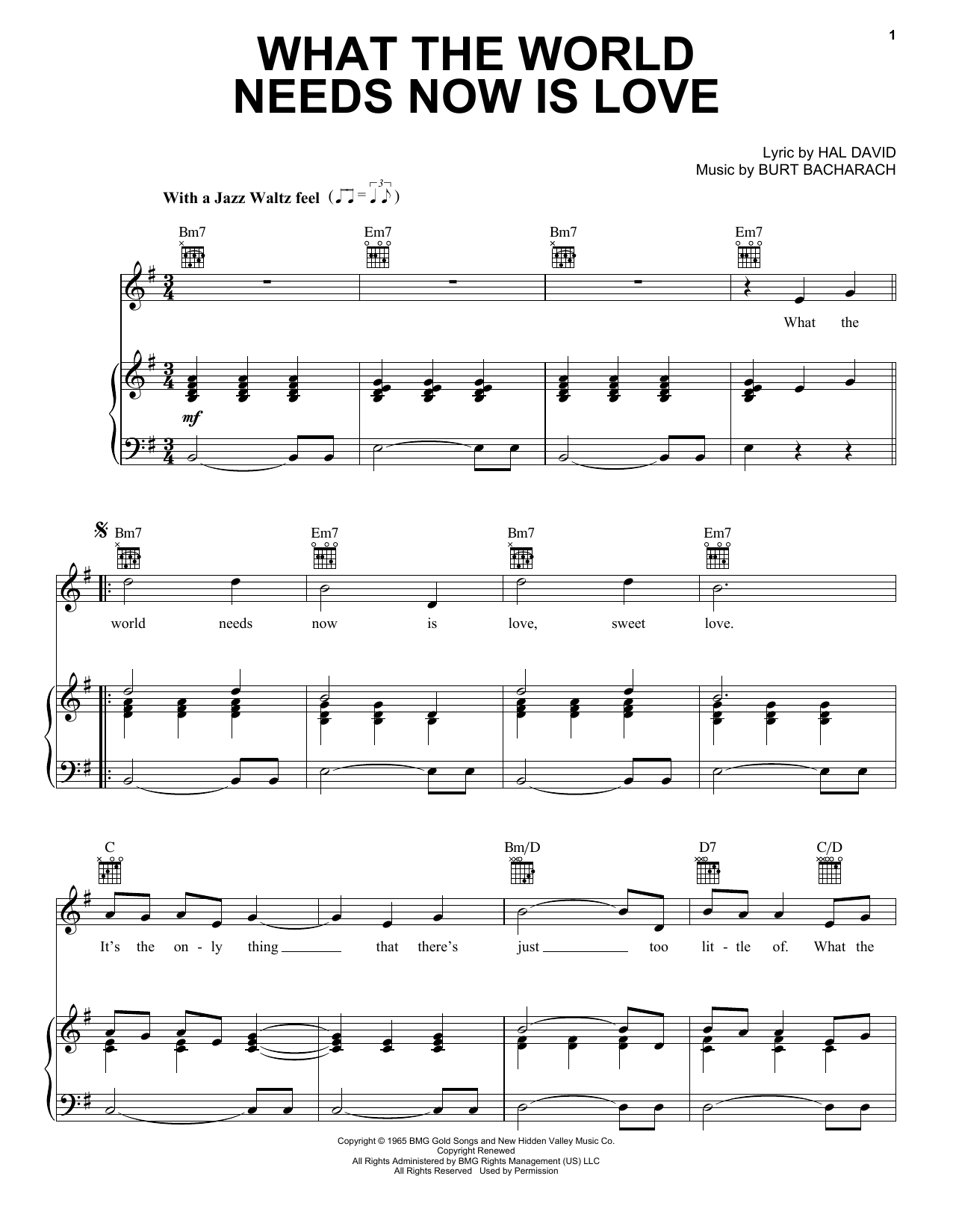 Bacharach & David What The World Needs Now Is Love sheet music notes and chords. Download Printable PDF.