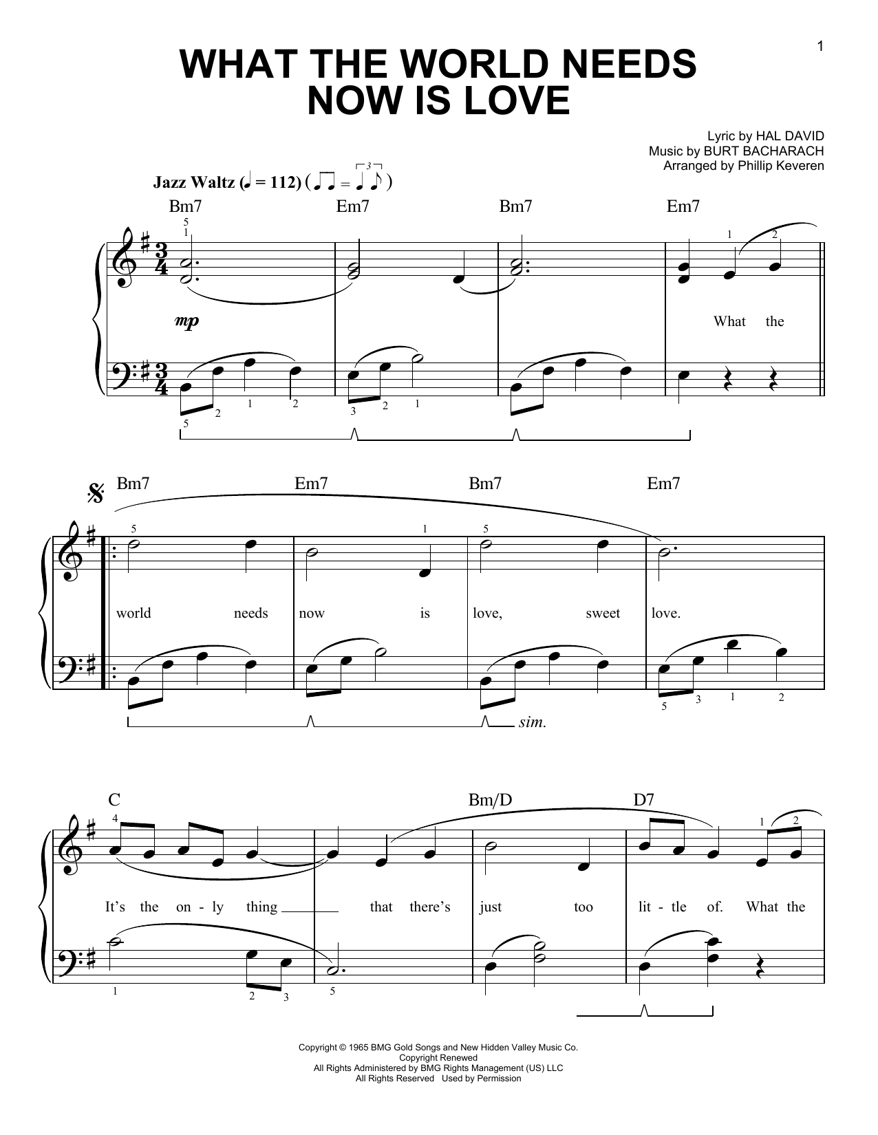 Bacharach & David What The World Needs Now Is Love (arr. Phillip Keveren) sheet music notes and chords. Download Printable PDF.
