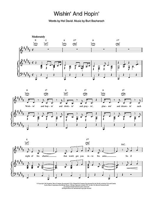Bacharach & David Wishin' And Hopin' sheet music notes and chords. Download Printable PDF.