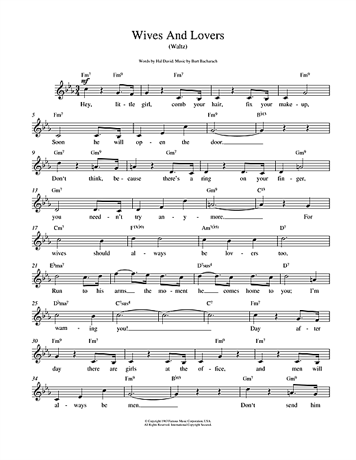 Bacharach & David Wives And Lovers (Hey, Little Girl) sheet music notes and chords. Download Printable PDF.
