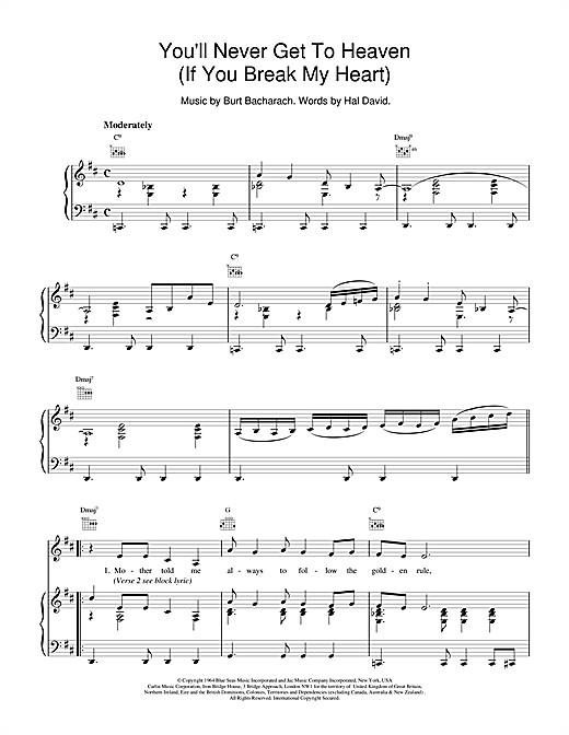 Bacharach & David You'll Never Get To Heaven (If You Break My Heart) sheet music notes and chords. Download Printable PDF.