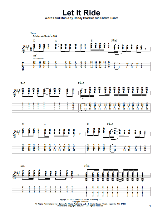 Bachman-Turner Overdrive Let It Ride sheet music notes and chords. Download Printable PDF.