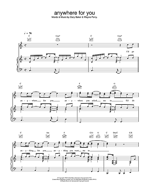 Backstreet Boys Anywhere For You sheet music notes and chords