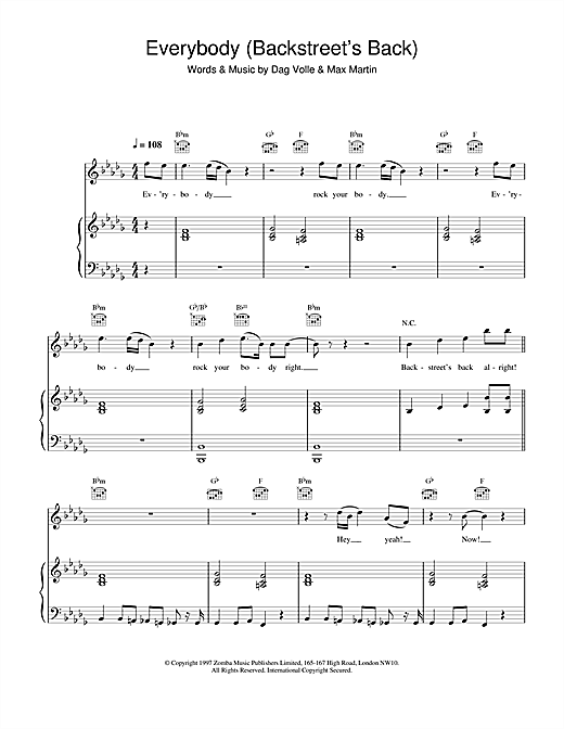 Backstreet Boys Everybody (Backstreet's Back) sheet music notes and chords. Download Printable PDF.