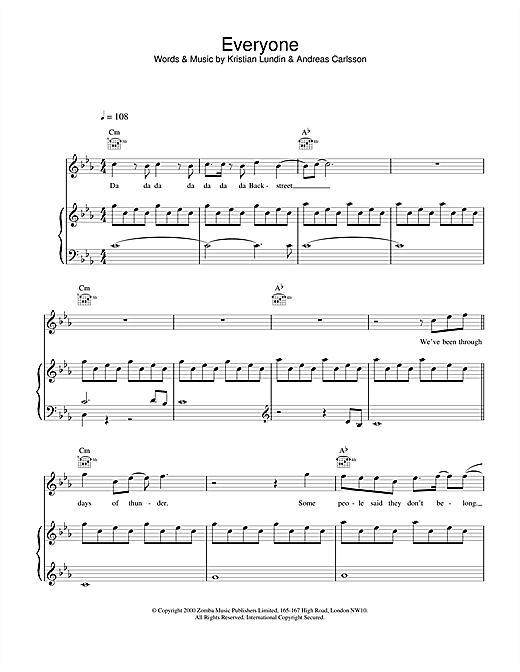 Backstreet Boys Everyone sheet music notes and chords