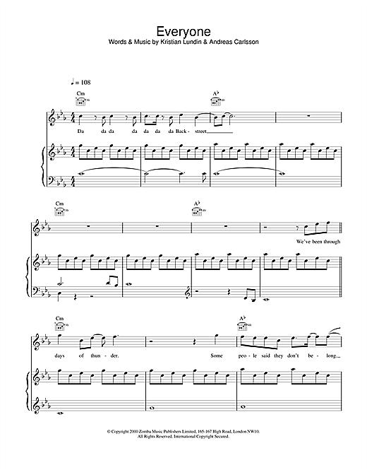 Backstreet Boys Everyone sheet music notes and chords. Download Printable PDF.