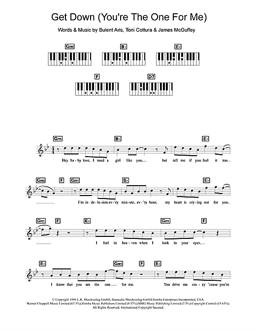 Backstreet Boys Get Down (You're The One For Me) sheet music notes and chords. Download Printable PDF.