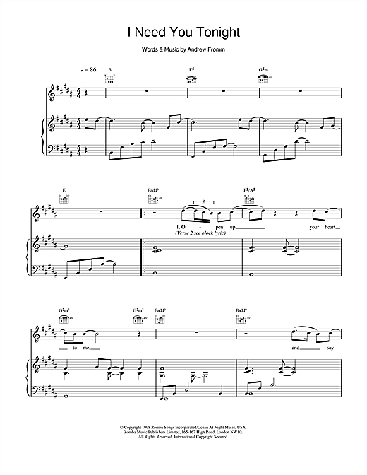 Backstreet Boys I Need You Tonight sheet music notes and chords. Download Printable PDF.