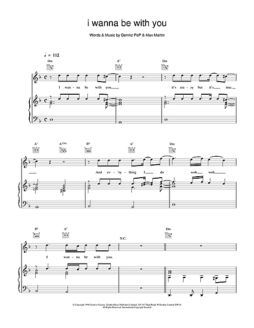 Backstreet Boys I Wanna Be With You sheet music notes and chords. Download Printable PDF.