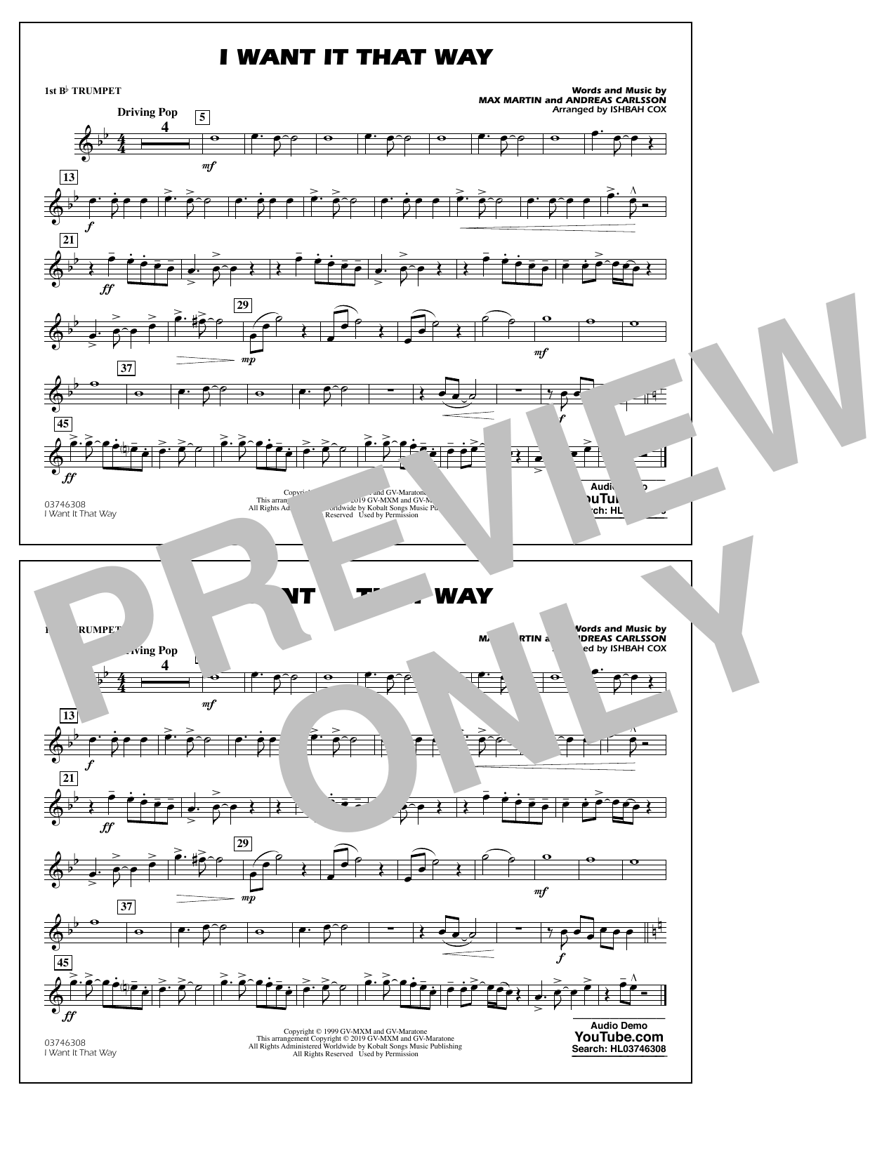 Backstreet Boys I Want It That Way (arr. Ishbah Cox) - 1st Bb Trumpet sheet music notes and chords
