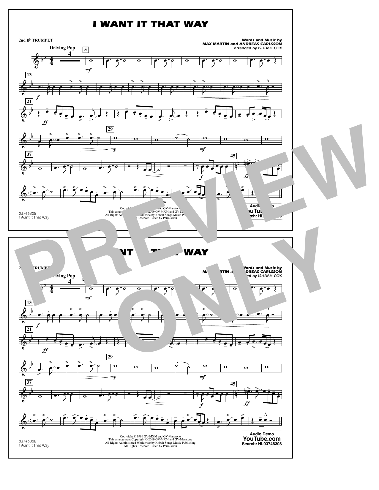 Backstreet Boys I Want It That Way (arr. Ishbah Cox) - 2nd Bb Trumpet sheet music notes and chords