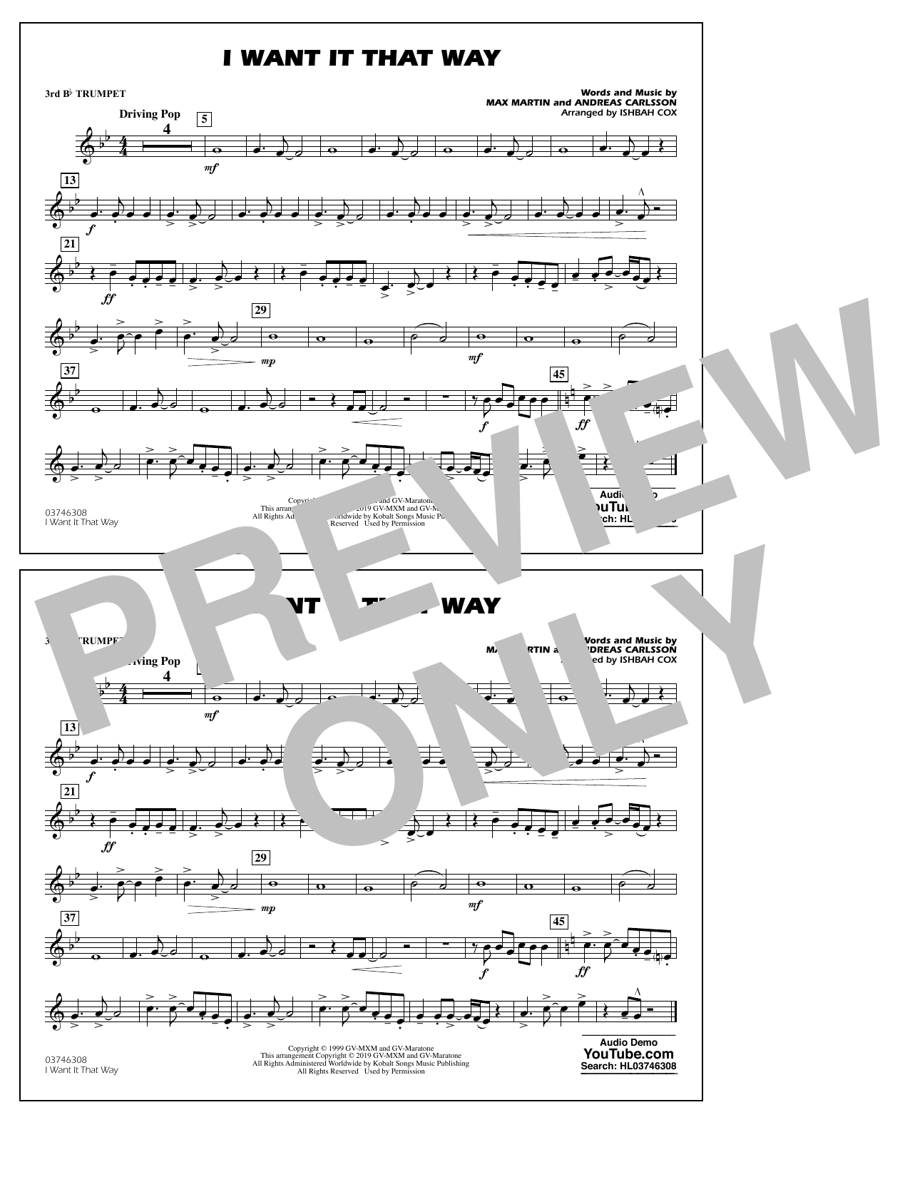Backstreet Boys I Want It That Way (arr. Ishbah Cox) - 3rd Bb Trumpet sheet music notes and chords