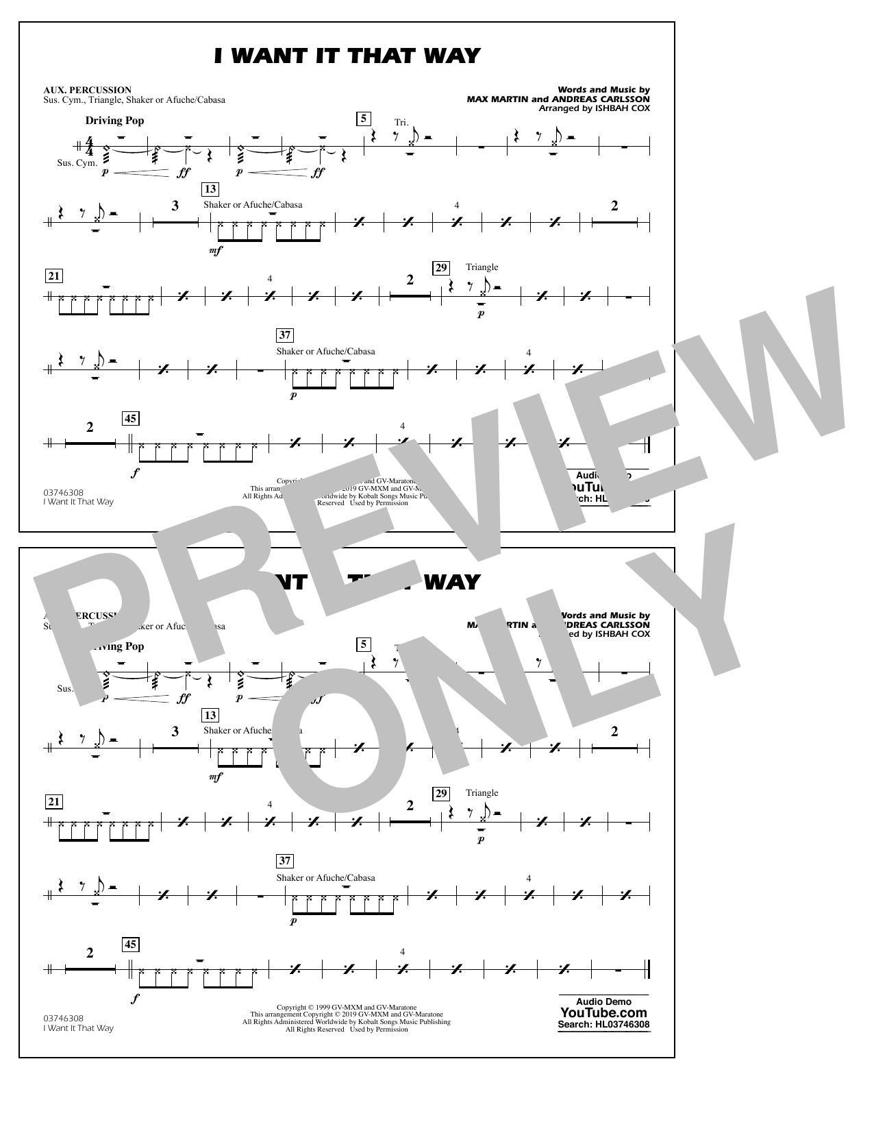 Backstreet Boys I Want It That Way (arr. Ishbah Cox) - Aux Percussion sheet music notes and chords