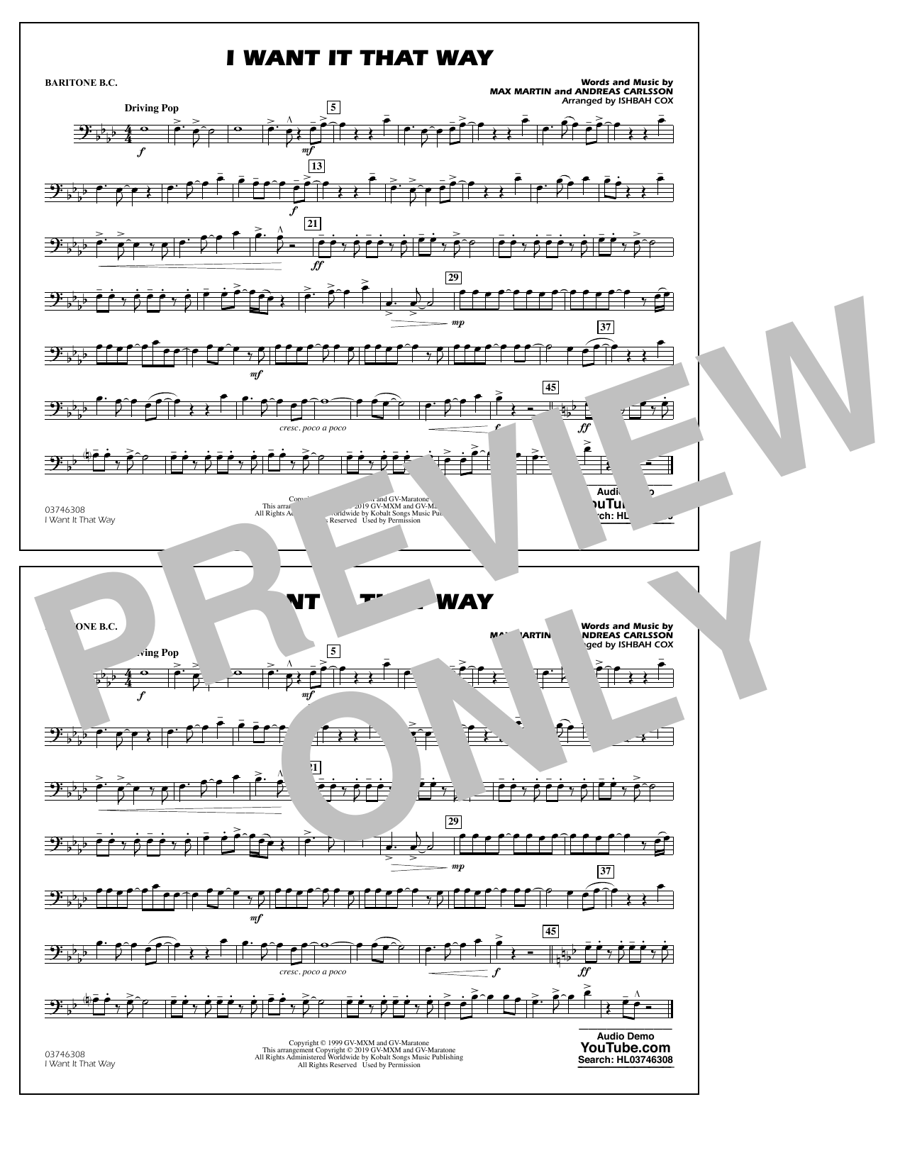 Backstreet Boys I Want It That Way (arr. Ishbah Cox) - Baritone B.C. sheet music notes and chords