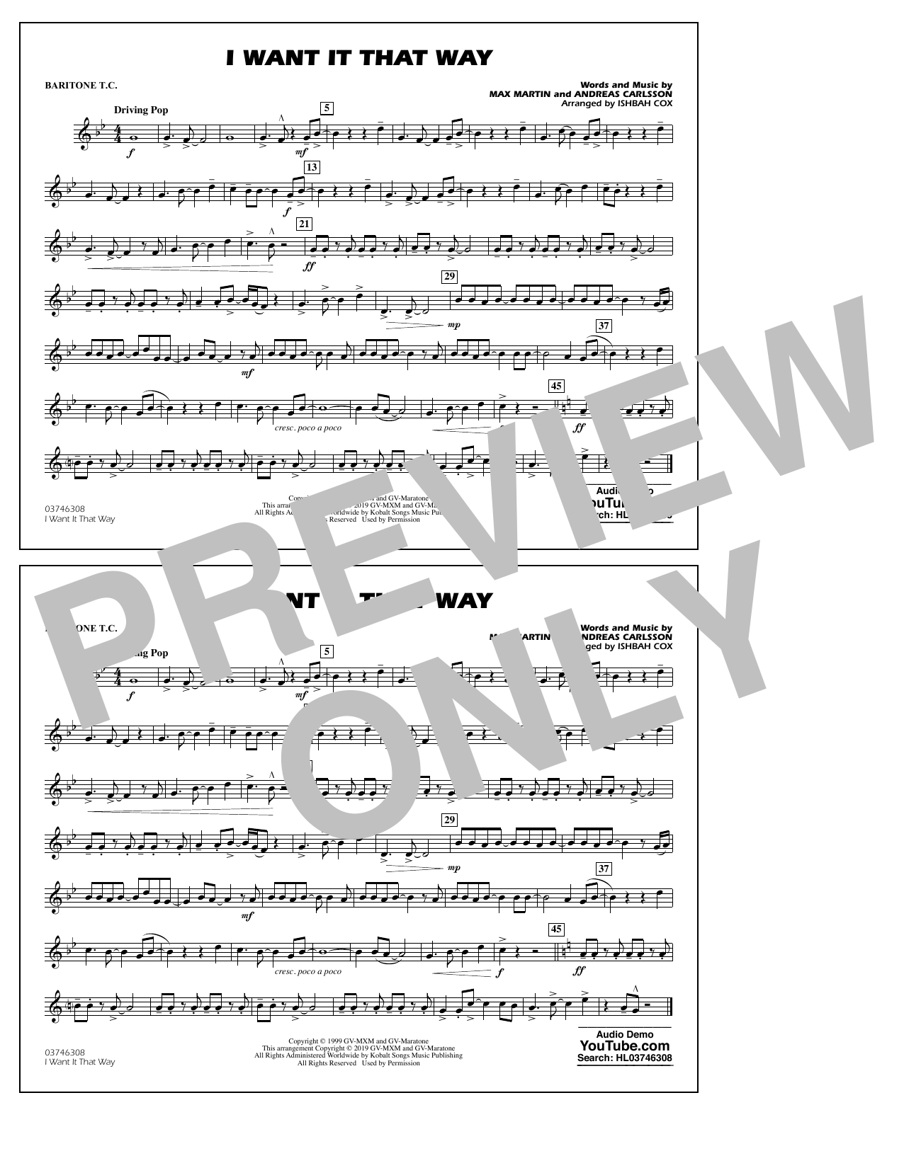 Backstreet Boys I Want It That Way (arr. Ishbah Cox) - Baritone T.C. sheet music notes and chords