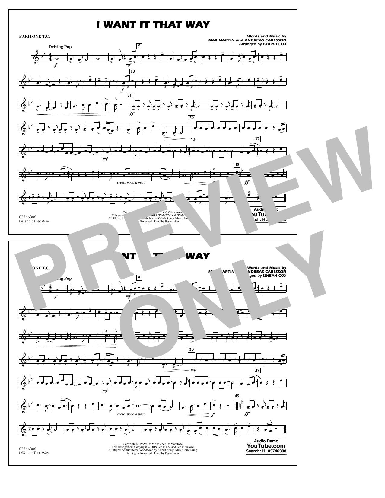 Backstreet Boys I Want It That Way (arr. Ishbah Cox) - Baritone T.C. sheet music notes and chords. Download Printable PDF.