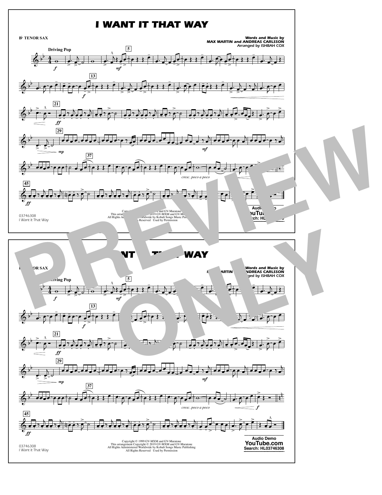 Backstreet Boys I Want It That Way (arr. Ishbah Cox) - Bb Tenor Sax sheet music notes and chords